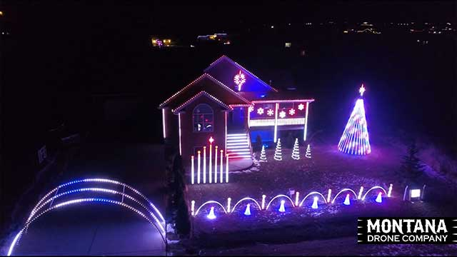 Vukonich Family Lights Christmas Light Show Night Flight Drone Aerial Video Footage